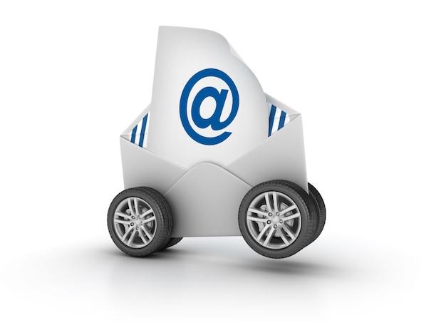 Illustration de rendu d'enveloppe de courrier électronique sur roues