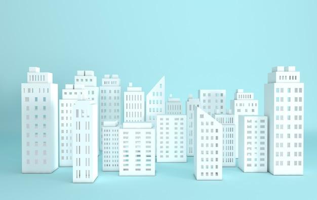 Illustration de rendu de gratte-ciel de papier blanc