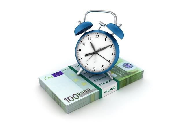 Illustration de rendu de l'horloge avec des billets en euros