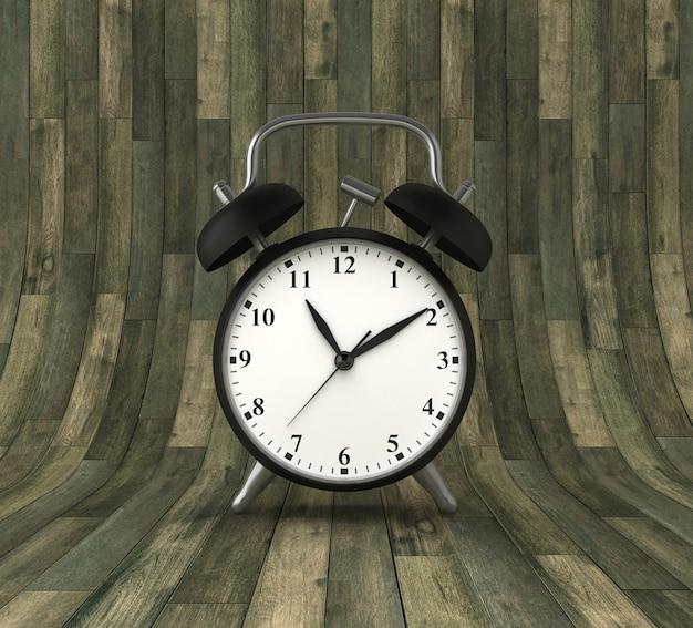 Illustration de rendu de l'horloge sur fond de bois