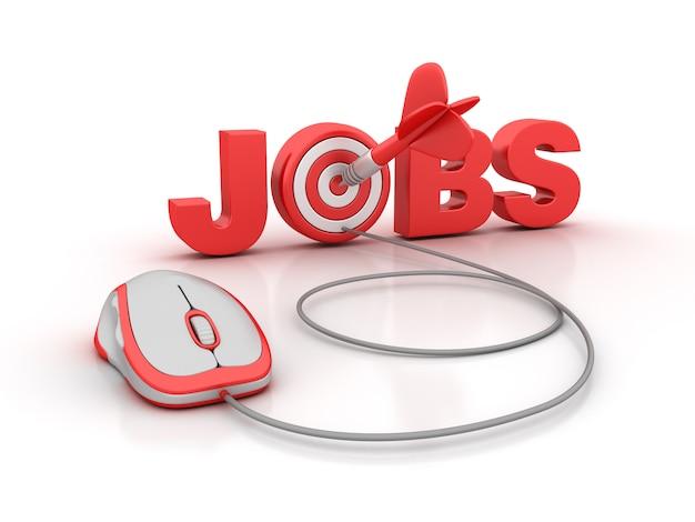 Illustration de rendu de jobs word avec cible et souris d'ordinateur