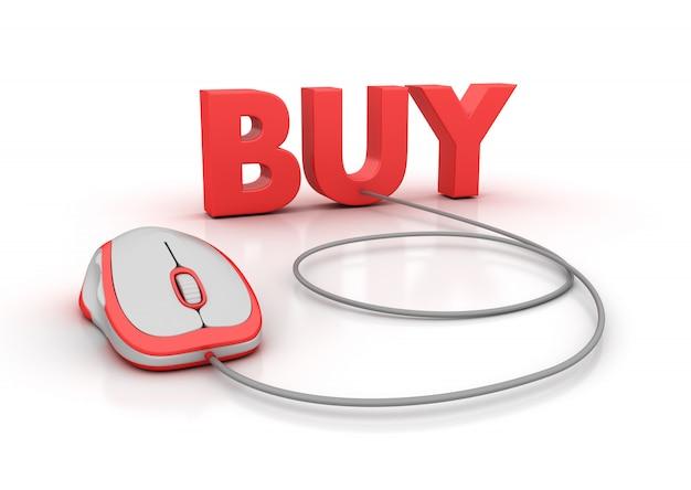 Illustration de rendu de mot d'achat avec souris d'ordinateur