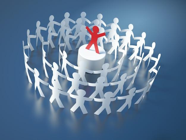 Illustration de rendu des personnes de pictogramme de travail d'équipe avec leadership