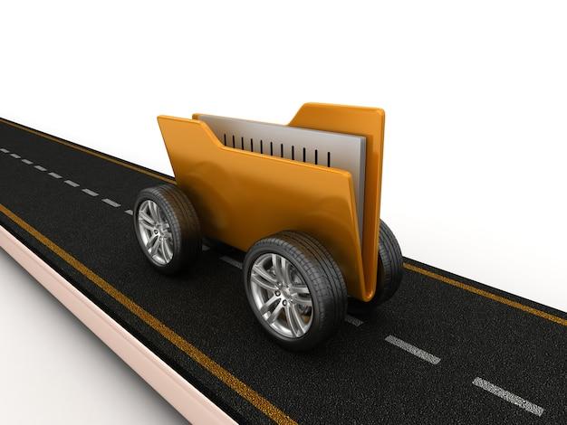 Illustration de rendu de route avec dossier d'ordinateur sur roues