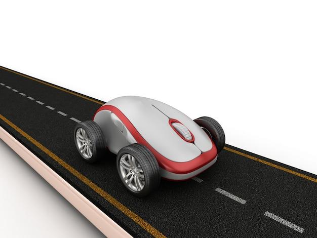 Illustration de rendu de route avec souris d'ordinateur sur roues