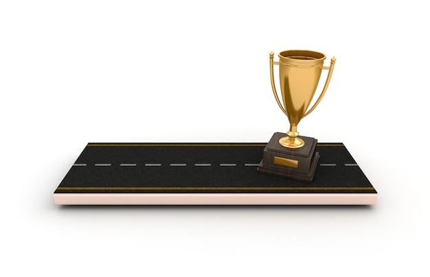 Illustration de rendu de route avec trophée