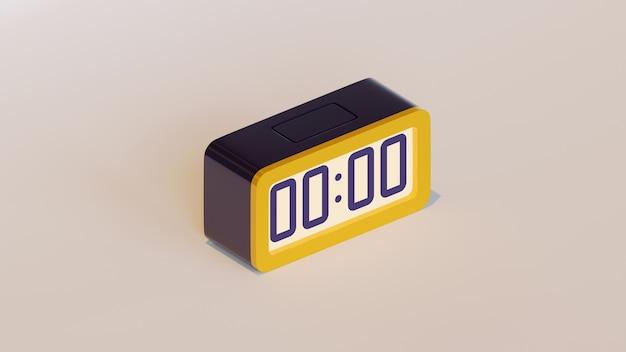 Illustration de rendu tridimensionnel du réveil numérique montrant l'heure de minuit