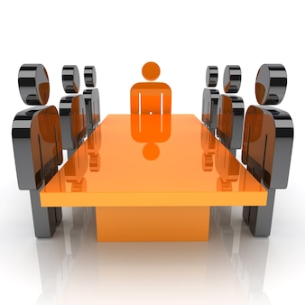 Illustration avec réunion du personnel et des personnages leaders