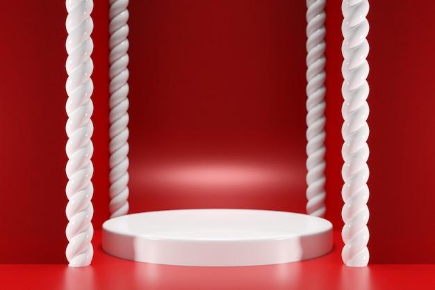 Illustration d'une scène d'un cercle avec quatre piliers en spirale sur fond rouge un gros plan d'un piédestal monocrome rond blanc