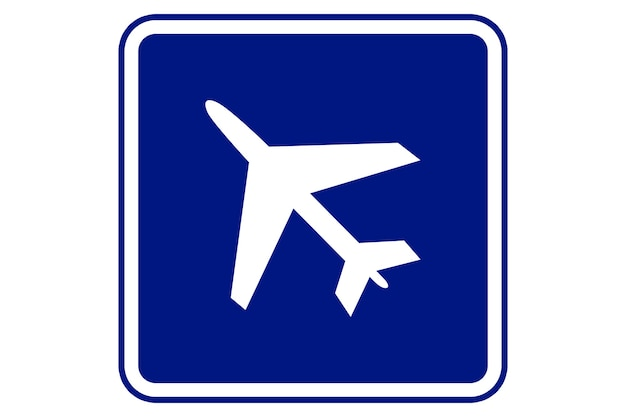 Illustration de signe d'aéroport sur fond bleu