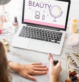 Illustration des soins de la peau de relooking cosmétiques de beauté sur ordinateur portable