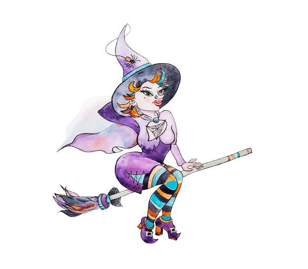 Illustration de la sorcière espiègle dans le costume violet sur le manche à balai isolé sur fond blanc