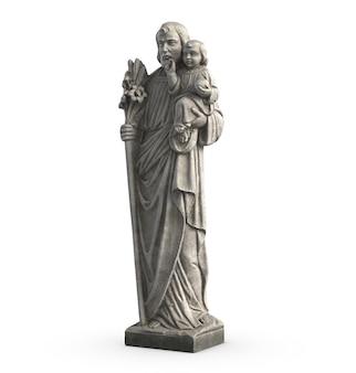 D illustration de la statue du vieux jésus et de l'enfant jésus sur fond blanc