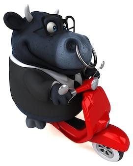 Illustration de taureau noir amusant