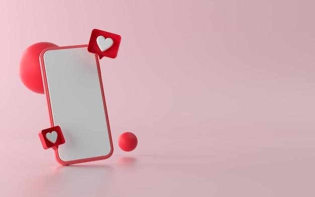 Illustration de téléphone 3d avec les médias sociaux comme le bouton de notification