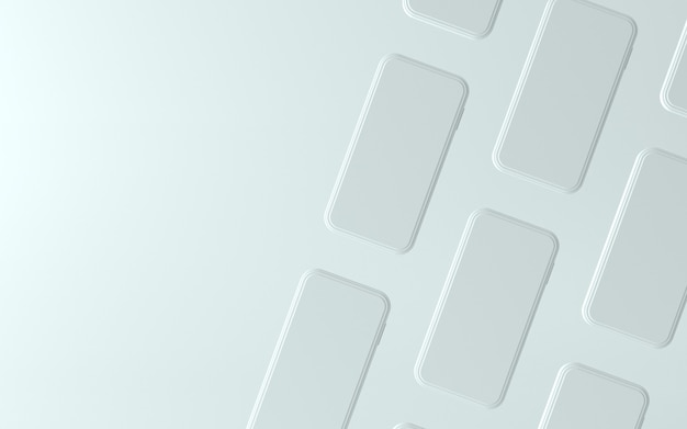 Illustration De Téléphone Blanc 3d Avec écran Vide Photo Premium