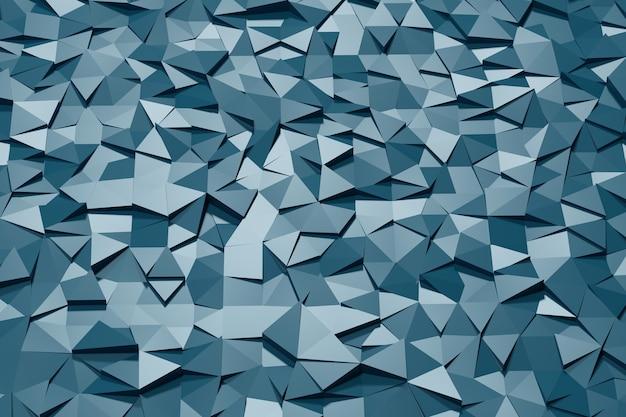 D illustration avec texture mosaïque polygonale abstraite bleue