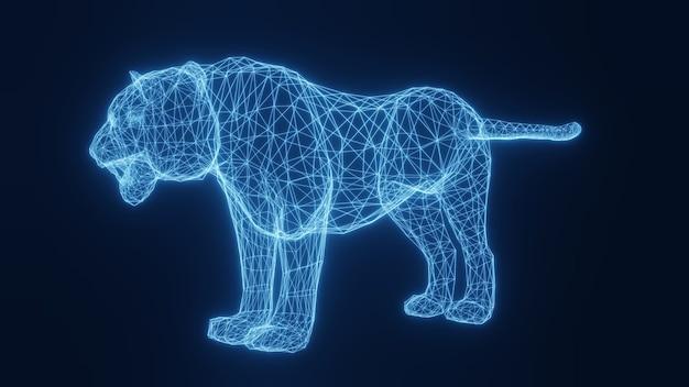 Illustration d'un tigre lumineux néon bleu à partir d'une grille en trois dimensions. rendu 3d.