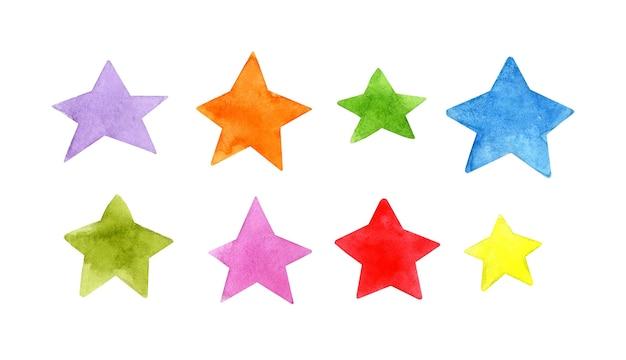 Illustrations à l'aquarelle de corps célestes étoiles de griffonnage multicolores dessinées à la main modèle