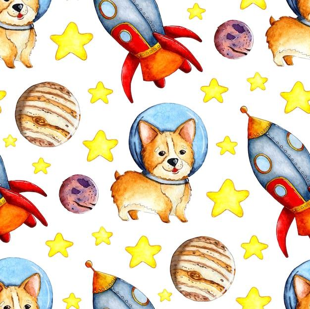 Illustrations à l'aquarelle du motif corgi dans les fusées et les étoiles des planètes spatiales répétition sans couture