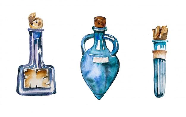 Illustrations De Bouteilles De Potion Vintage Peintes à La Main Aquarelle. Conception De L'assistant. Photo Premium