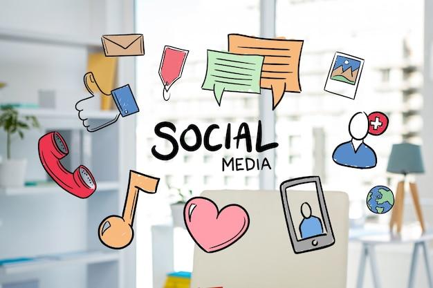 Illustrations de médias sociaux dessinés à la main