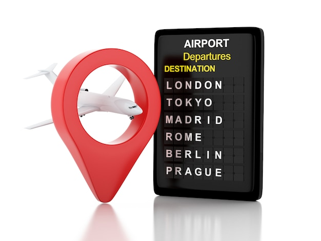 Illustraton 3d. panneau d'aéroport, avion et pointeur de la carte. concept de voyage. fond blanc isolé