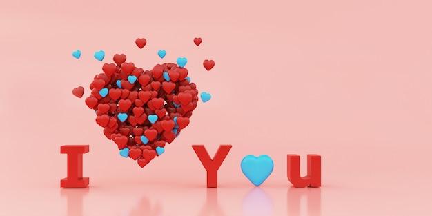 Ilustration du coeur fait de petits coeurs sur fond rose pastel, rendu 3d