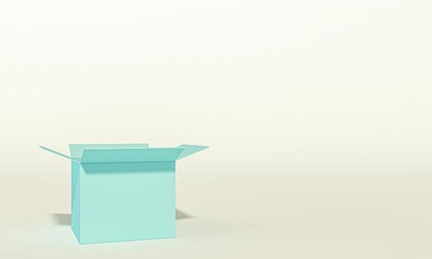 Image 3d d'une boîte vide, personne autour.