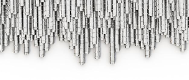 Image 3d d'une grande quantité de tiges métalliques pour la construction.