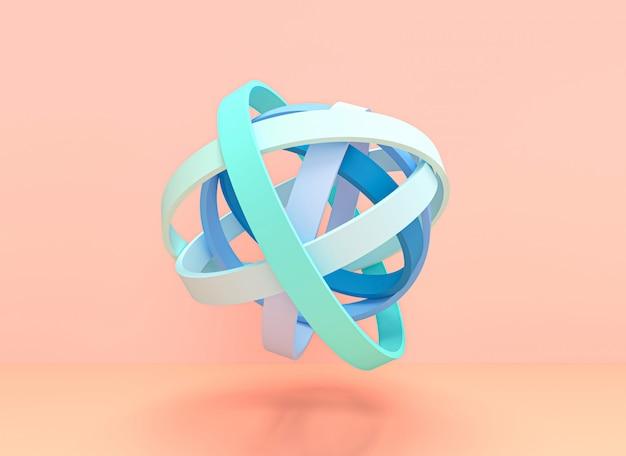 Image 3d rendre des anneaux concentriques formant une boule avec des couleurs pastel.