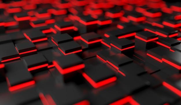 Image abstraite du fond de cubes en lumière rouge