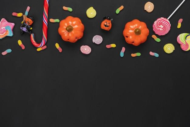 Image aérienne vue de dessus de la décoration concept de fond jour happy halloween.