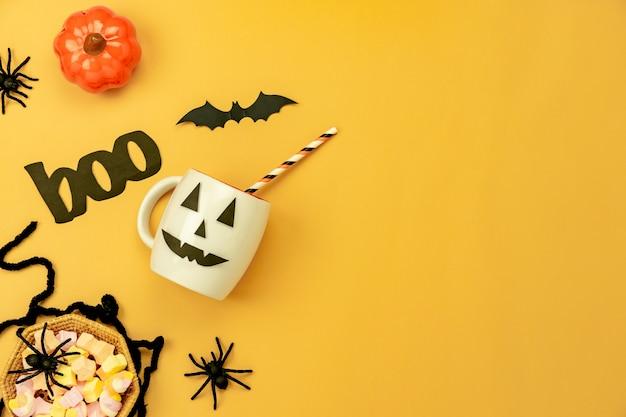 Image aérienne vue de dessus de table de décoration happy halloween day background