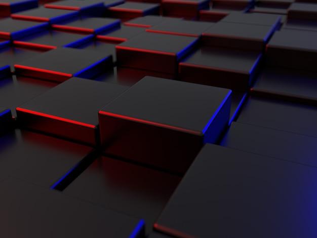 L'image d'arrière-plan de style abstrait est une forme rectangulaire et polygonale alignée scène 3d haute et basse