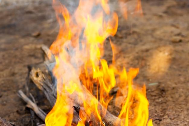 L'image de bûches dans le feu