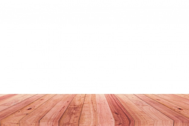 Une image d'un bureau en bois devant un fond abstrait de blanc.
