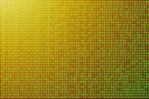 Image d'un code binaire flou composé d'un ensemble de nombres verts sur fond noir.