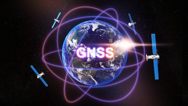 Image de communication technologique système mondial de navigation par satellite, terme générique standard pour les systèmes de navigation par satellite, gnss, rendu 3d