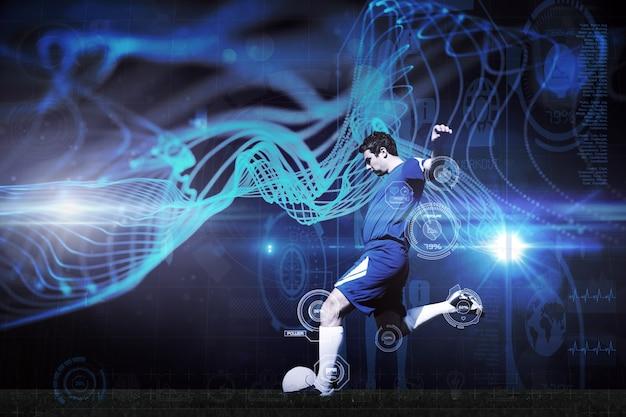 Image composite du joueur de football kicking ball