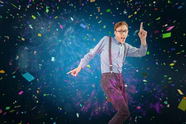 Image composite de hipster geek dansant sur vinyle