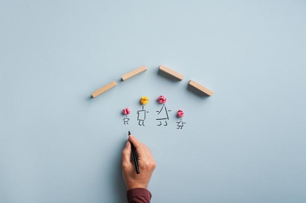 Image conceptuelle de l'assurance et de la sécurité familiale