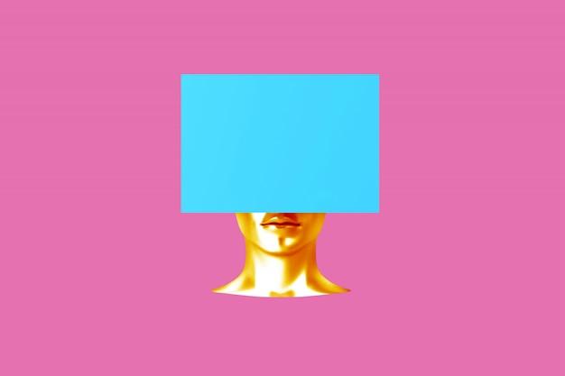 Image conceptuelle d'une tête de femme avec un cube au lieu d'une illustration 3d de coiffure