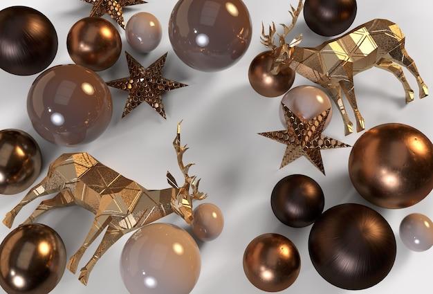 Image de décoration de noël moderne avec golden deer golden balls golden stars