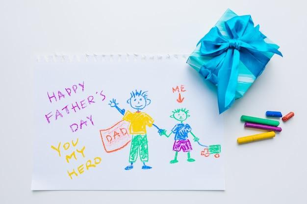 Image dessinée avec une boîte cadeau bleue vue de dessus, bonne fête des pères