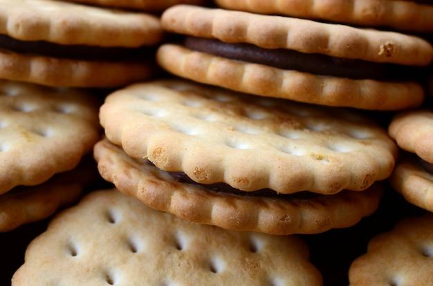 Image détaillée de biscuits sandwich ronds fourrés à la noix de coco.
