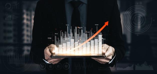 Image à double exposition de la croissance des bénéfices des entreprises