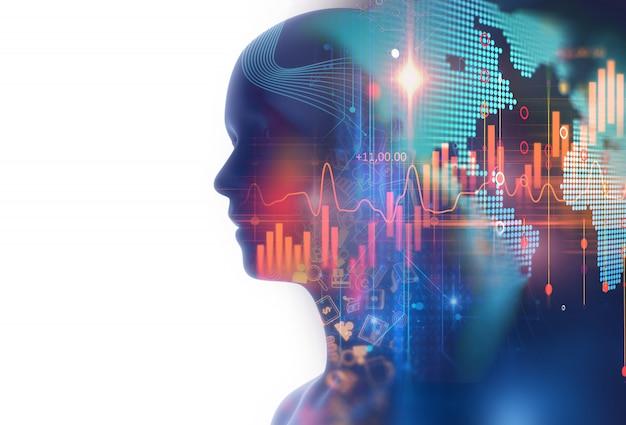 Image de double exposition d'un graphique financier et d'un humain virtuel