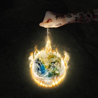 Image du monde en feu, réchauffement climatique, remix de l'environnement avec effet de feu
