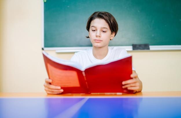 Image d'un écolier intelligent avec un manuel ouvert dans les mains en regardant des notes.